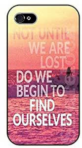 iPhone 4 / 4s Pink sea and wave. Not until we are lost do we begin to find ourselves - black plastic case / Life Quotes