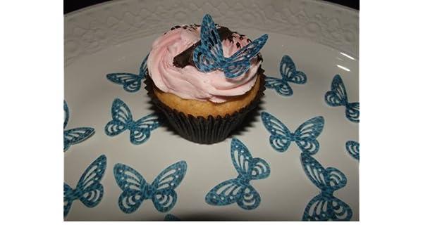 25 PRECORTADA Azul Estampado Leopardo COMESTIBLE Mariposa Decoración PARA CUPCAKES DECORACIÓN por Topped Off: Amazon.es: Hogar