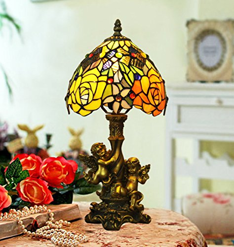 Table Lamp Tiffany Angels (Makenier Vintage Tiffany Style Stained Glass Rose Flower Table Lamp with Angels Base, 8 Inches Lampshade)