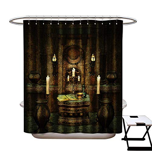 BlountDecor Gothic Shower Curtain Customized A Room with Altar in Fantasy Style Spells Spirituality Pentagram Symbols and Candles Bathroom Accessories W72 x L84 Brown]()