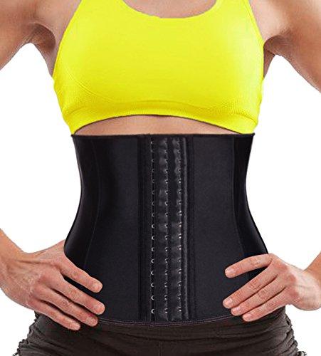 Eleady Women Latex Waist Trainer Underbust Corset Steel Boned Sport Cincher Body Shaper for Weight Loss (Black, Size S(US 10)) - Underbust Waist Cincher