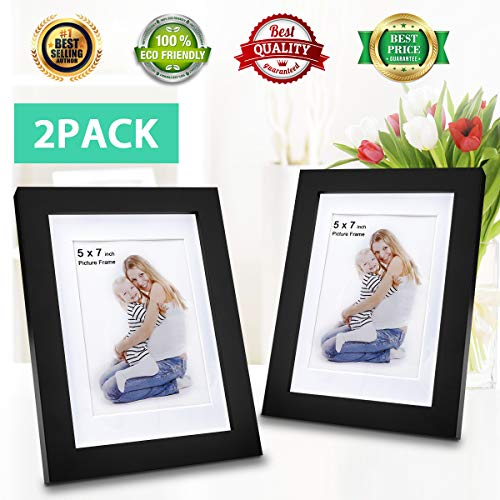 5x7 Picture Frames (2 Pack Black) 5x7 Photo Frame Made of Solid Wood 5x7 Wood Frame Display on TableTop 5x7 Photo Frame for Wall Mount 4x6 Photo w/Mat in Picture ()