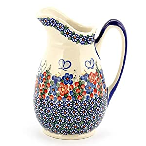 Polish Pottery, Handpainted and Handcrafted Water or Juice Jug 1.7L _ Butterflies Artistic Pattern (A001)