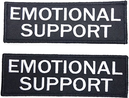 Leashboss Emotional Support Dog Patch for ESA Vest - Embroidered 2 Pack - Hook and Loop Both Sides - 3 (Emotional Support, 1 x 2.75 Inch)