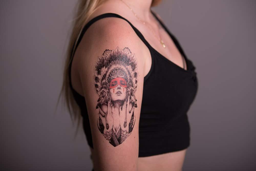 4 hojas Skull Tattoo brazo tatuaje pegatinas rosas Calavera 4: Amazon.es: Belleza