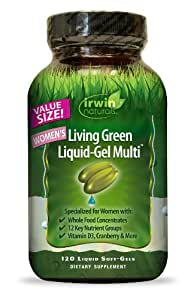 Irwin Naturals Living Green Multi Liquid-Gel for Women, 120 Count