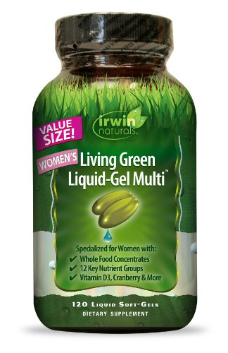 (Irwin Naturals Women's Living Green Liquid-Gel Multi Vitamin - 70 Essential Nutrients, Full-Spectrum Vitamins, Wholefood Blend - Targeted Adrenal & Brain Support - 120 Liquid Softgels)
