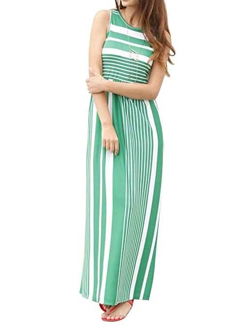 ad4fab3d60d913 Lovaru Womens Striped Print Dresses Sleeveless Pleated Crew Neck Loose Maxi  Dress with Pockets at Amazon Women s Clothing store
