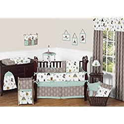 Sweet Jojo Designs Outdoor Adventure Nature Fox Bear Animals Unisex Baby Bedding 9 Piece Crib Set