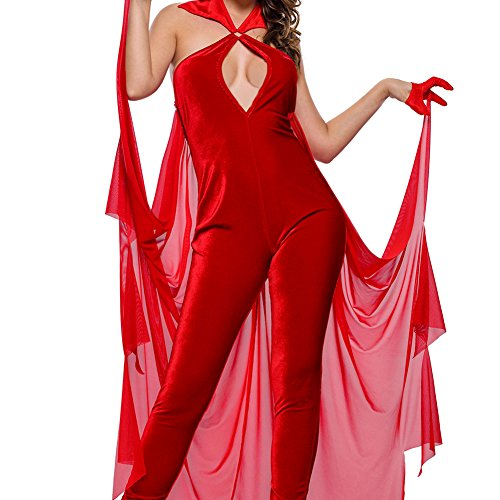 [Sugarwewe Red Sexy Devilish Diva Cosplay Halloween Costume 4 Pcs Role Play Costome Set L Red] (Bloody Mary Costume)