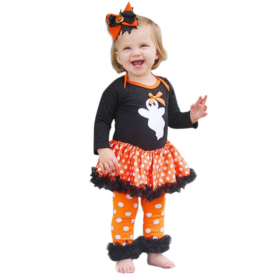 KONFA Teen Baby Girls Ghost Dress Tops Dots Print Pants,Little Princess 2Pcs Outfits Halloween Clothes Sets
