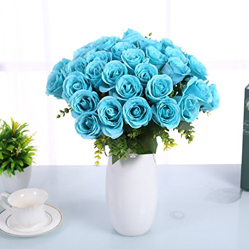 Evoio Artificial Roses Flowers, DIY Bridal Bouquet, Fake Silk Plastic Flowers 18 Heads for Office Home Garden Party Wedding Decoration (Blue)
