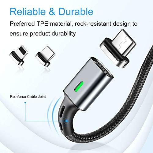 nero cavo dati con 3 adattatori fino a 3 A cavo + Micro USB + pin + connettore USB-C Quick Charge 3.0 Cavo magnetico in nylon platino 1 m i!/®
