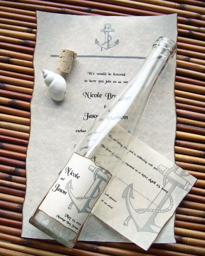 Message In A Bottle ® Premiere Tall Glass Wedding Invitation Sample - Anchors Aweigh (Anchor Premier)
