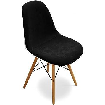 Privatefloor Chaise DSW Inspire Par Charles Eames Tissu Blanc Shell Noir