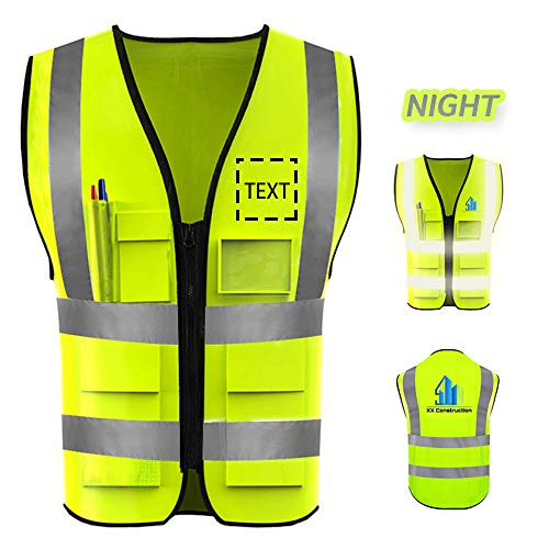 High Visibility Safety Vest Custom Logo Protective Workwear With Reflective Strips Outdoor Work Vest Plus Size 90-300 lbs (L, Neon Yellow)