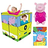 Peppa Pig Pop Up Vehicle Play Tent, Plush Figural Coin Bank And Balloon Ride DVD With 10 Peppasodes! Kids Pretend Play, Plush Toys & Playhouses, Imaginative, Learn, Fun Activity For Kids, Bundle