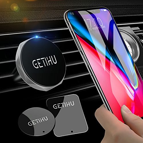 GETIHU Car Phone Mount Universal Air Vent Magnetic Cell Phone Holder for iPhone X 8 7 6s 6 5s 5 Plus Samsung HTC Motorola BlackBerry Smartphone GPS(Silver)