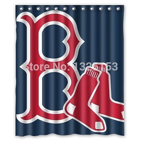 FABATU Custom Red Sox Shower Curtain Bathroom Curtains