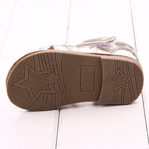 Dooxi Bebé Niña Verano Casual Sandalias Antideslizante Primeros Caminantes Zapatos del Niño Oro