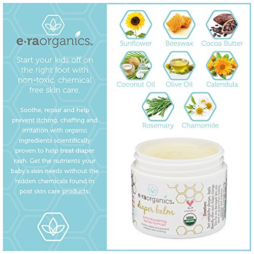 Diaper Rash Cream 2oz. USDA Certified Organic Soothing Diaper Rash Treatment for Sensitive Skin. Natural Ointment to Nourish and Protect from Moisture, Infection, Chaffing and Irritation. by Era Organics (Image #2)