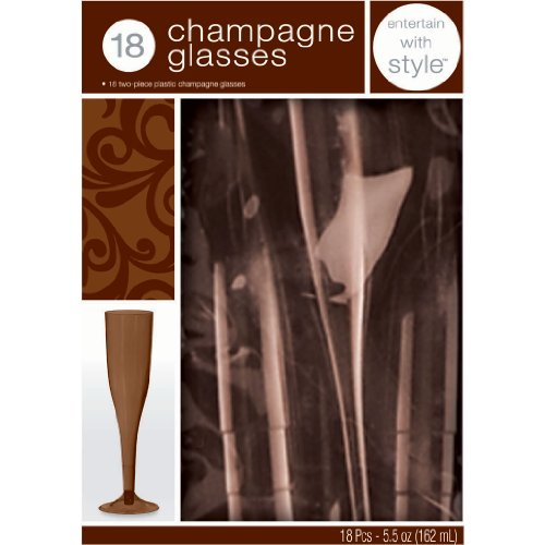 Chocolate Brown 5.5 oz. Plastic Champagne Flutes Party Accessory