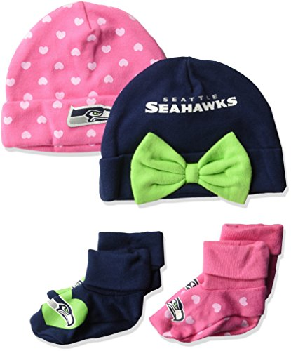 NFL Seattle Seahawks Baby-Girls 4-Piece Cap & Bootie Set, Seahawks, 0-6 (Best Gerber Girls Socks)