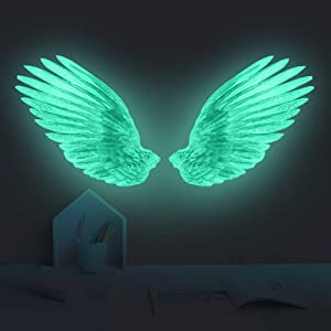Creative Glow in The Dark Angel Wings Wall Decal Decor Removable DIY Fluorescence Bird Feather Wall Stickers 3D Home Wall Art for Kids Girl Boys Bedroom Living Room Nursery Bathroom Playroom (Green)
