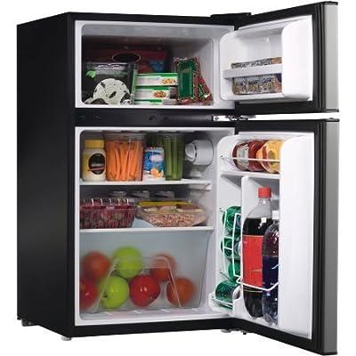 2 Door Stainless Steel Dorm Size Refrigerator