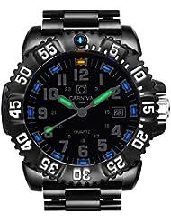 Mens Swiss Tritium Luminous Sports Watches H3 Quartz Army Black Dial Rotatable Bezel Sports WristWatch