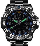 Men's Swiss Tritium Luminous Sports Watches H3 Quartz Army Black Dial Rotatable Bezel Sports WristWatch
