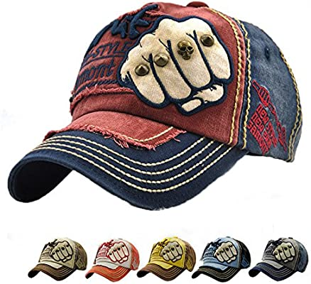 LAOWWO Gorra de Béisbol Ajustable Hombres Mujeres Unisex Sombrero Power Fist Patrón Deporte Ciclismo Senderismo Leisure Cap 6 Colores