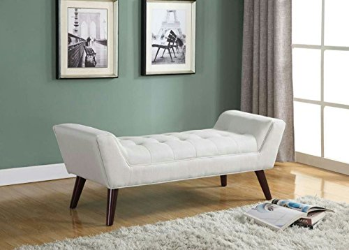 Home Life Curved Foot Bench with Tufted Accents Textured Linen Fabric with Wooden Legs, Beige