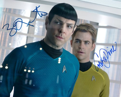 (Star Trek into Darkness SIGNED RP cast photo Chris Pine & Zachary Quinto)