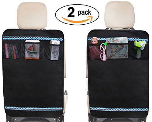 Buy Auto Kick Mat Seat Back Protectors with 3 Mesh Storage Pockets, 2 Pack (Black)