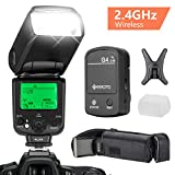 GEEKOTO Flash Speedlite for Canon DSLR Cameras, E-TTL LCD Display Wireless Flash Speedlite 1/8000 HSS GN58 2.4GHz Wireless Radio Master Slave, Professional Flash Kit with Wireless Flash Trigger