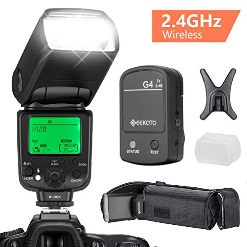 GEEKOTO Flash Speedlite for Canon DSLR Cameras, E-TTL LCD Display Wireless Flash Speedlite 1/8000 HSS GN58 2.4GHz Wireless Radio Master Slave, Professional Flash Kit with Wireless Flash Trigger ()