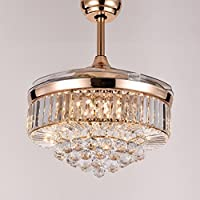 Siljoy 42 Inch Ceiling Fans with Retractable Blades and Lights Remote Control Crystal Chandelier Lighting in Gold