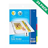 School Binder Dividers, Bazic 3 Ring Binders Dividers 5 Tabs For Index 24 Units