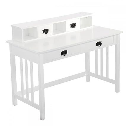 amazon com fdw white writing contemporary desk home office