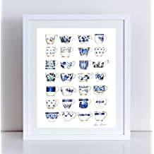 Blue and White Art Antique Teacups Print Tea Cup Watercolor Chinoiserie Painting Blue Chinoiserie Teacups Gift for Her Mad Tea Party Canvas Art Print