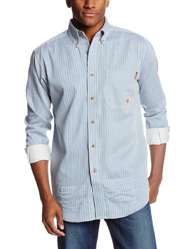Ariat Men's Flame Resistant Button down, Bold Blue, Large