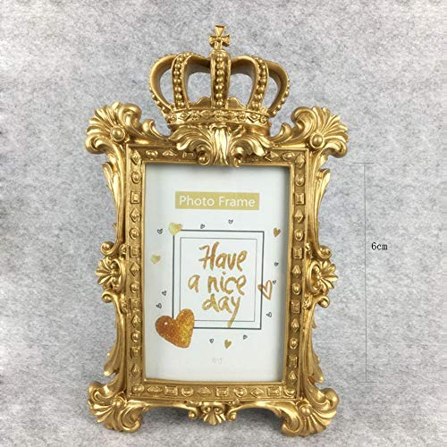 Creative Classical Geometry Crown Photo Frame Craft Family Wedding Gold Royal Aristocratic Environmental Resin Decoration Gold 4''X6'',6'' from Encounter G