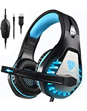 BUTFULAKE GH-1 Gaming Headset for PS5, PS4, Xbox One, Xbox One S, PC, Nintendo Switch, Mac, Laptop, 3.5mm Wired Pro Stereo Over Ear Gaming Headphones with Noise Cancelling Mic, LED Light, Blue