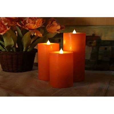 LED Electric Flameless Orange Candle Yellow Bright Bulb Moving Wick with 4 Or 8 Hours Timer Battery Operated Artificial Simulation for Holiday Seasonal Christmas Halloween Wedding Party Decor 1PCS: Home Improvement