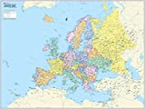 CoolOwlMaps Europe Continent Wall Map Poster - Rolled Paper (32''x24'')