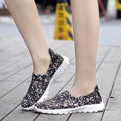 Casual Women's Brown2 Woven Sneakers Shoes Sneakers Running YMY Lightweight Breathable ztvWaaxU