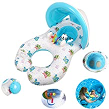 Dual Person Kids Baby and Mommy Inflatable Swim Boat Float Ring Tube Water Seat with Sunshade Canopy