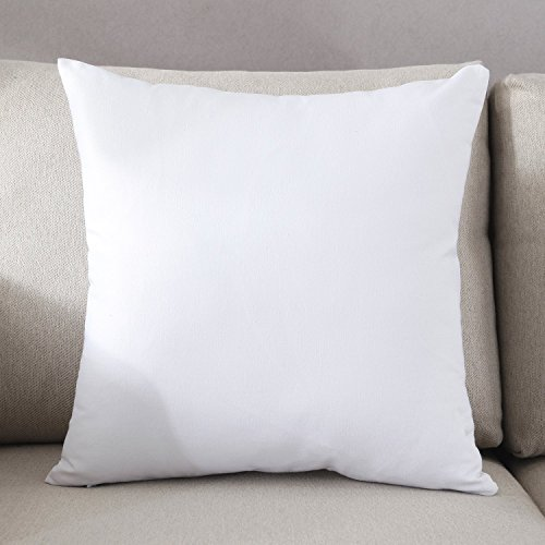 TAOSON Decorative 100% Cotton Canvas Square Solid Toss Pillowcase Cushion Cover Pillow Cover with Hidden Zipper Closure Only Cover No Insert - White 24