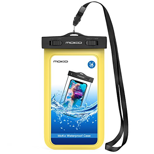 MoKo Waterproof Phone Pouch, Cellphone Case Dry Bag with Armband & Lanyard Compatible with iPhone X/Xs/Xr/8 Plus/8/7/6S Plus, Samsung Galaxy S9 Plus/S9/Note 9/Note 8 - Yellow -